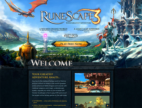 runescape 3 homepage screenshot