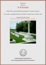 CWGC Certificate for Albert Knowles