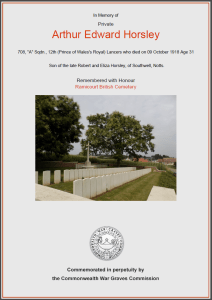 CWGC Certificate for Arthur Edward Horsley