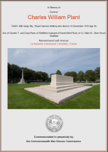 CWGC Certificate for Charles William Plant