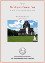 CWGC Certificate for Christopher George Parr