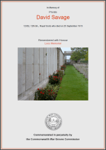 CWGC Certificate for David Savage