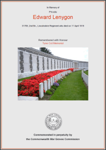 CWGC Certificate for Edward Lenygon