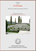 CWGC Certificate for Ernest Knowles