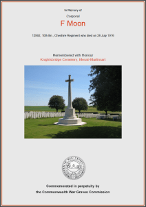 CWGC Certificate for Frederick Moon