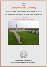 CWGC Certificate for George Arnold Connelly