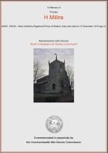 CWGC Certificate for Harold Millns
