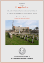 CWGC Certificate for John Heginbottom