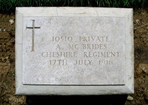 Headstone for Andrew McBrides