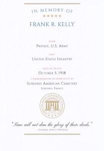 ABMC Certificate for Frank R Kelly
