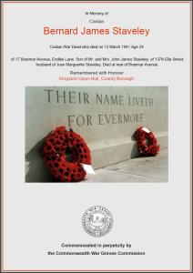 CWGC Certificate for Bernard James Staveley