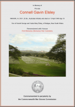 CWGC Certificate for Connell Gavin Elsley