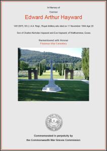 CWGC Certificate for Edward Arthur Hayward