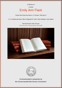 CWGC Certificate for Emily Ann Flack