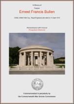 CWGC Certificate for Ernest Francis Bullen