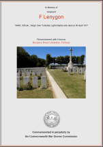CWGC Certificate for Frank Lenygon
