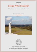 CWGC Certificate for George Arthur Boardman