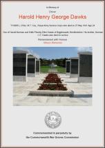 CWGC Certificate for Harold Henry George Dawks