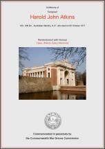 CWGC Certificate for Harold John Atkins