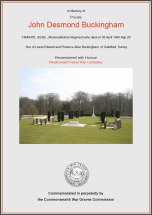 CWGC Certificate for John Desmond Buckingham