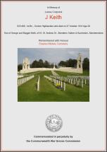 CWGC Certificate for John Keith