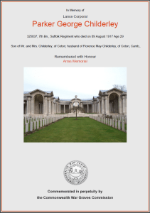 CWGC Certificate for Parker George Childerley