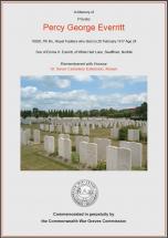 CWGC Certificate for Percy George Everritt