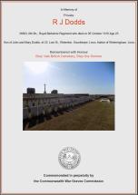 CWGC Certificate for Reginald John Dodds