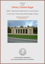 CWGC Certificate for Sidney Charles Biggs