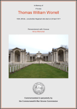CWGC Certificate for Thomas William Worrell