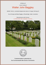 CWGC Certificate for Walter John Baggley