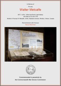 CWGC Certificate for Walter Metcalfe