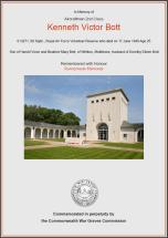 CWGC Certificate of Kenneth Victor Bott