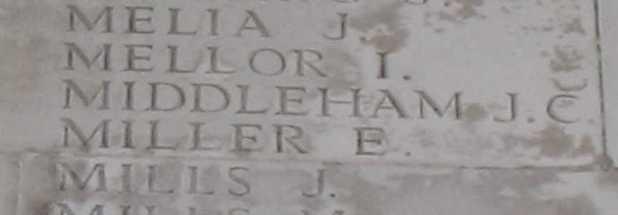 John Charles Middleham on Thiepval Memorial
