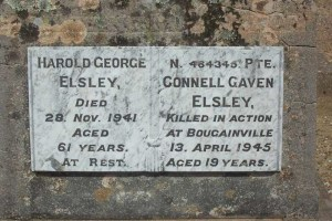 Memorial for Harold George and Connell Gavan Elsley