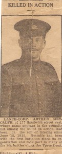 Newspaper Clipping on Arthur Metcalfe