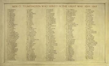 Plaque in Trumpington Village Hall - Michael Charles Metcalfe
