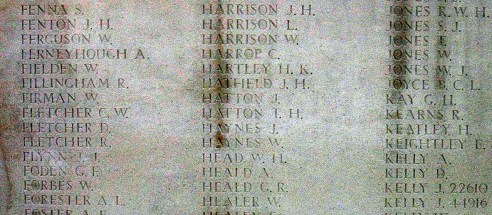 William Healer on the Tyne Cot Memorial