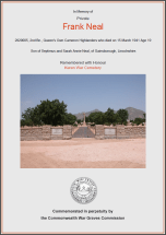 CWGC Certificate for Frank Neal