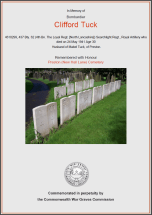 CWGC Certificate for Clifford Tuck