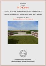 CWGC Certificate for Michael Drummond Kelbie