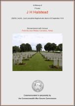 CWGC Certificate for James Henry Halstead