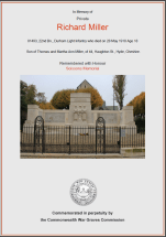 CWGC Certificate for Richard Miller