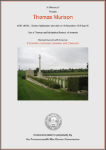 CWGC Certificate for Thomas Murison, 1896-1916