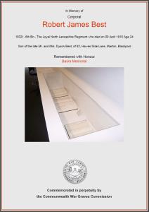 CWGC Certificate for Robert James Best, 1891-1916