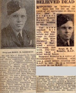Collection of newspaper clippings reporting on death of Robert Russell Roberts ((Image courtesy of nalarus at Ancestry Family Trees)