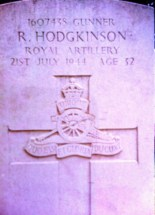 Headstone for Richard Hodgkinson at Hermanville War Cemetery in France. (Image courtesy of Tim Smith at Ancestry Family trees)