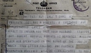 Telegram from the War Office to Margaret Roberts (Image courtesy of nalarus at Ancestry Family Trees)