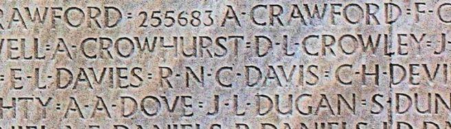 R N C Davis's name on Vimy Memorial
