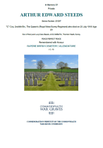 CWGC Certificate for Arthur Edward Steeds